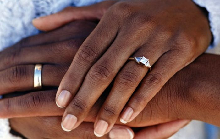 Black African Couple Wedding Ring Band